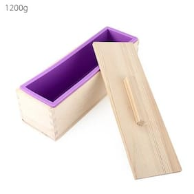 Rectangular Solid DIY Handmade Silicone Soap Crafts Mold Wooden Box with Cover # International Bazaar