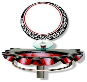 Red and black Stain proof Glass basin Long Lasting and Durable with mirror Wall Hung Basin