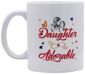 Red Moments Womens Day Special Quoted Ceramic White Mug for Mother And Daugther