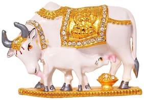 Relicon Kamdhenu Cow and Calf Idol (R-94) White Gold Metal Statue for Car Dashboard   Mandir Pooja Murti  Temple Puja   Home Decor   Office Table Showpiece