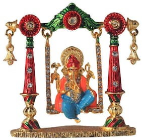 Relicon Lord Ganesh Idol on Jhula   Ganesha Idol   Ganpati Vinayaka (R-71) Color Metal Statue for Car Dashboard   Mandir Murti   Home Decor   Office Table Showpiece