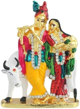 Relicon Radha Krishna Idol with Cow (R-116) Color Metal Statue for Car Dashboard   Mandir Pooja Murti   Temple Puja   Home Decor   Office Table Showpiece