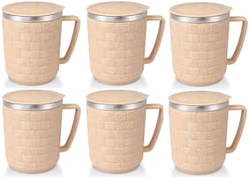 Rema - Nexus Heavy Stainless Steel Cups for Coffee & Tea 6 Pcs Set (Made in India) - Beige
