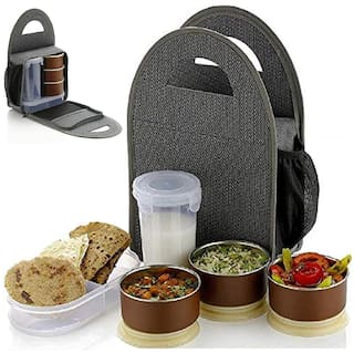 Rema 3 Container Stainless Steel Lunch Box Set of 1 ( Grey ,  800 ml )