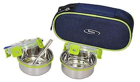 Rema 2 Containers Stainless steel Lunch Box - Green
