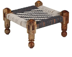 Reme Grey And White Knitted Chowki For Seating