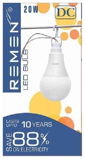 REMEN, 20W, 12V DC Solar Led Bulb, Cool Day Light, (Pack of 1)