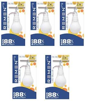 REMEN, 4Watt, 12V Solar Led Bulb, Cool Day Light, (Pack of 5)