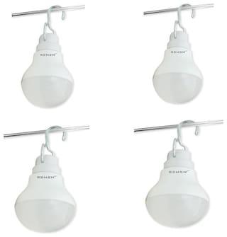 Remen 7 W;12V Dc Solar/Battery Led Bulb With Hanger (Pack Of 4)