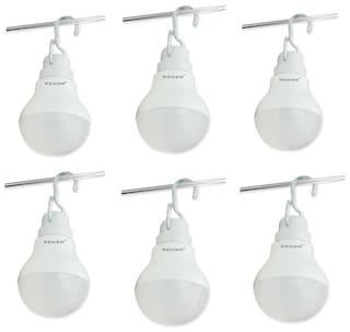 Remen 7 W;12V Dc Solar/Battery Led Bulb With Hanger (Pack Of 6)
