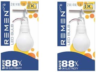 REMEN 7 W, 12V DC Solar/Battery Led Bulb with Hanger (Pack of 2)