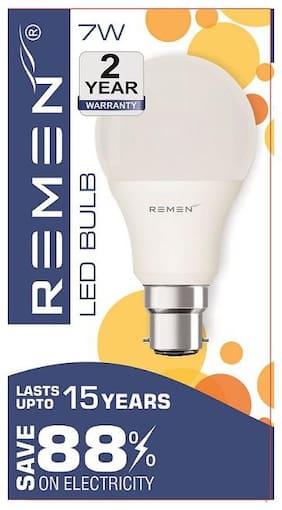 REMEN 7Watt, Base B22 Cool Day Light White, (Pack Of 1)