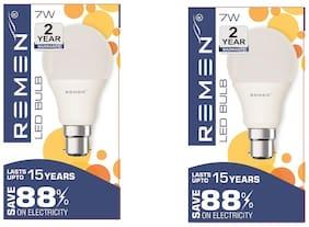 REMEN 7Watt Base B22, Cool days Light, White (Pack of 2)