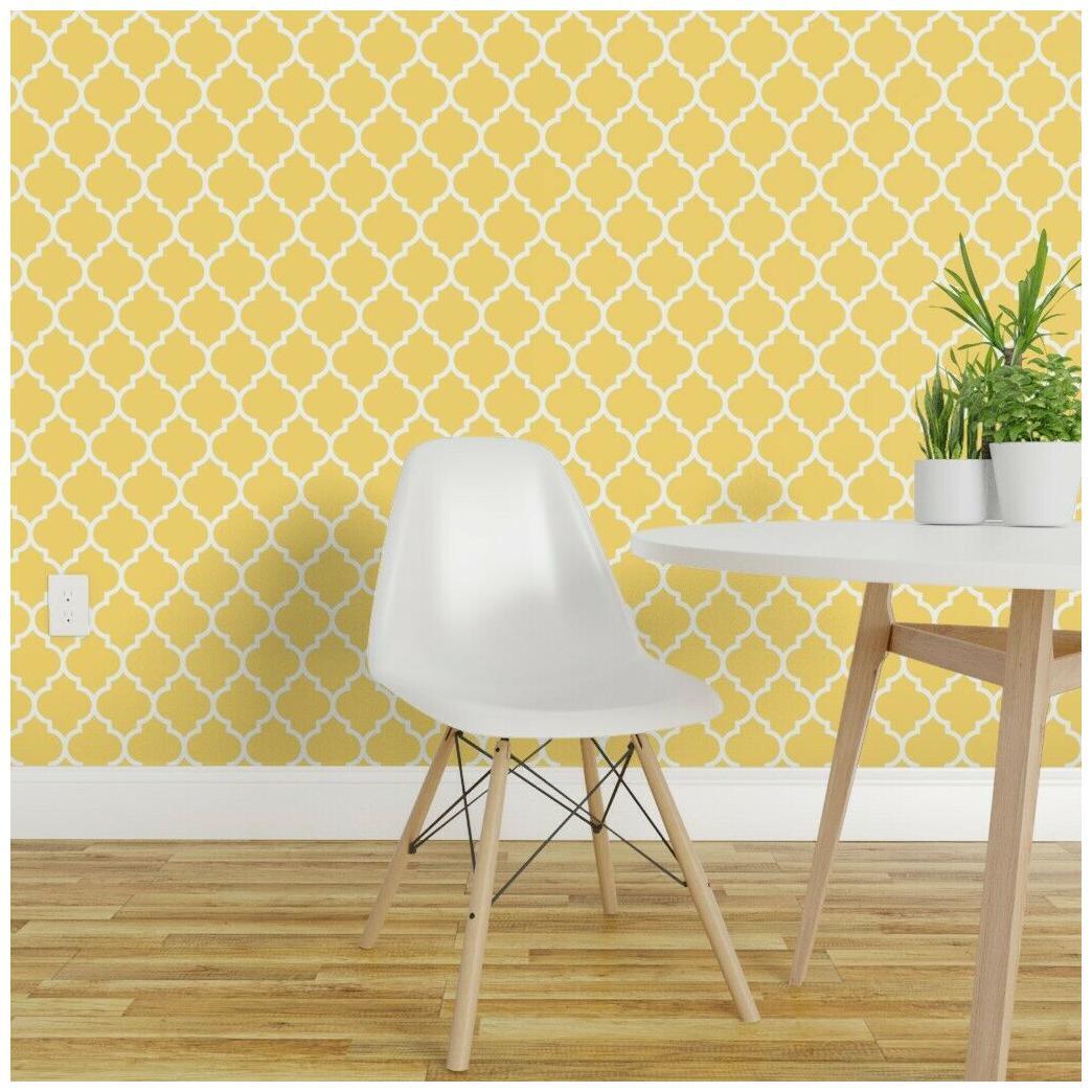Removable Water-Activated Wallpaper Quatrefoil Lattice Lemon Yellow
