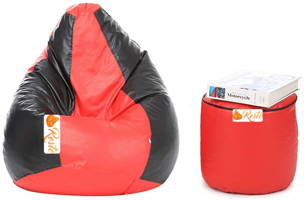 Resto Classic XXXL Bean Bag Cover With Footstool Without Beans   Red,Black by Shiv High Techno