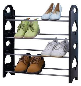 Retail Metal Collapsible Shoe Stand   Black, 4 Shelves