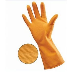 Reusable Pure Latex Dotted Rubber Hand Gloves For Household/Kitchen/Washing/Cleaning, Large Size (20 pairs)