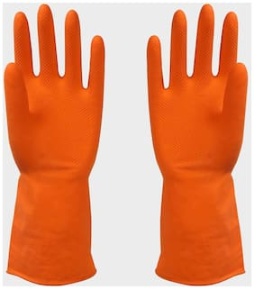 Reusable Rubber Latex Household Kitchen Long Gloves, Free Size - For Laundry, Dish-Washing, Scrubbing Floors, Gardening