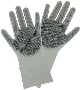 Reusable Silicone Gloves Cleaning Brush Scrubber Gloves Heat Resistant for Dish Wash Cleaning Pet Hair Care