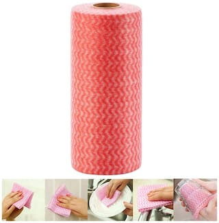 Reusable & Washable Absorbent Cleaning Wipes Towel Roll For Kitchen & Bathroom (Assorted Color) 80 Pulls in 1 Roll