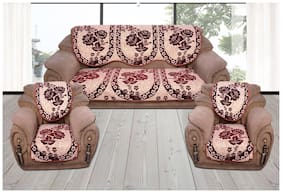 Reversible Sofa Cover For 5 Seater Sofa;450 TC Velvet Fabric By Fresh From Loom