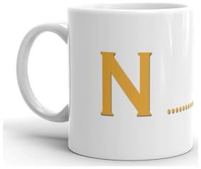 RGUC Designer Silent Smiley Face  Alphabet (N)  Printed Mug
