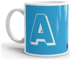 RGUC Designer Blue color With Doremon Alphabet (A)  Printed Mug