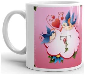 RGUC Designer Love Flower Alphabet (T)  Printed Mug
