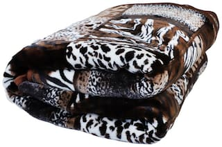 Rian Ultra Soft Warm Double Bed Mink Blanket for Winter Tiger Print (220 X 240 cm) (Double Bed) (Coffee)