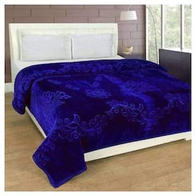 Rian Ultra Soft Luxurious Very Warm Indian Mink Blanket Double Bed for Winter - Blue