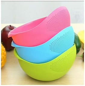 Rice Vegetable and Fruit Strainer / Bowl , Plastic Wash Rice Pasta, Chowmein, Drainer, Colander Strainer (1Pc) Assorted Color