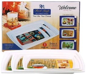 Rich Craft International SERVING TRAY/TRAY/WELCOME TRAY(pack of 3) Assorted Colors