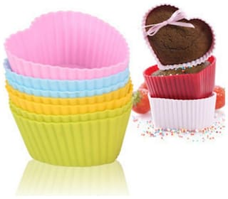 Right traders siliconen cupcake muffin cup cake pan bakken tools Heart shaped 6pcs