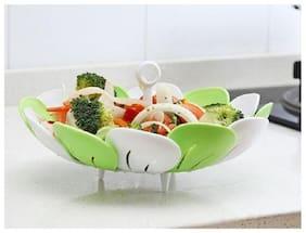 Right Traders 1pc Multifunctional Plastic Retractable Folded Vegetable Fruit Basket Steamer Rack