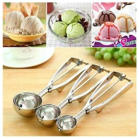 Right Traders Stainless Steel Ice Cream Scoop Set with Trigger (Pack Of 3 Size)