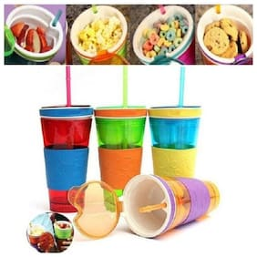 Right Traders Travel Cup Snack Container Lid Straw Kids Snack bottle (Pack Of 1)