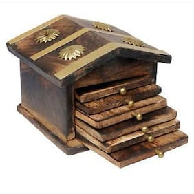 Rishi Handicrafts Antique Wooden Hut Tea Coaster
