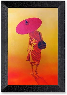 Ritwika'S Buddha Monk With Umbrella Wall Painting Matte Textured Photo Frame
