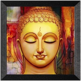 Ritwika'S Budhha Yellow Face Meditation Matte Textured Frame Painting