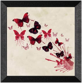 Ritwika'S Butterfly Floral Art Wall Painting Mattetextured Painting