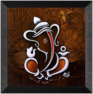 Ritwika'S Floral Art Lord Ganesha Matte Textured Frame Painting