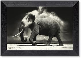 Ritwika'S Floral Art Balck And White Modern Art Elephant Mattetextured Painting
