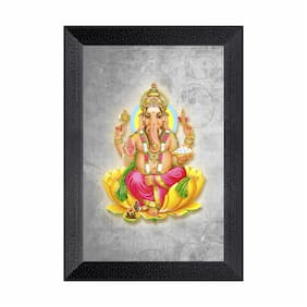 Ritwika'S Ganesh Religious Framed Painting Abstarct Art Matte Textured
