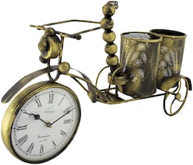Ritwika'S Iron Insect Clock Cycle Wine Bottle Holder/Utility Stand