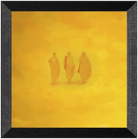 Ritwika'S Monk Abstract Yellow Wall Painting Matte Textured Frame