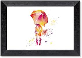Ritwika'S Rain Girl Umbrella Watercolor Reprint Mattetextured Frame Painting