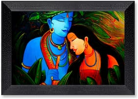Ritwika'S Radha Krishna Flute Modern Art Mattetextured Frame
