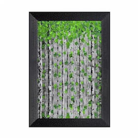 Ritwikas Modern Art Green Leaf Wall Art Digital Reprint Frame Painting ( Photo & Frame Size - 8 x 12 and 9.5 x 13.5 Inch)