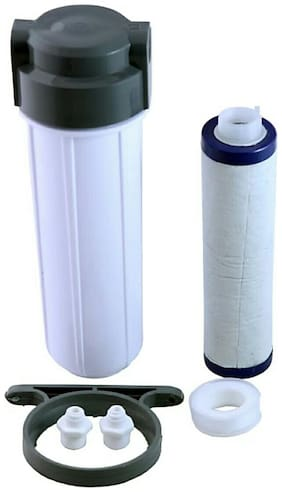 """RO Pre-Filter Housing Aquaguard type + Clamp + Threaded Candle 9"""" + 1/2"""" X 1/4"""" Connector + Taflon Tap for RO  UV Water Purifier"""