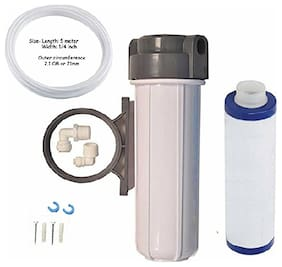 """RO Pre-Filter Bowl Aquaguard type + Clamp + Threaded Candle 9"""" + 1/4"""" Pipe + Elbow for RO UV Water Purifier"""